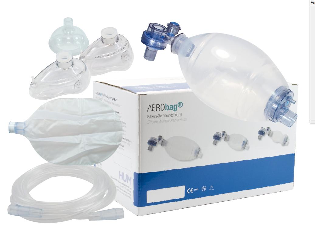 Beademingsballon kind met 3 maskers, reservoir en zuurstofslang