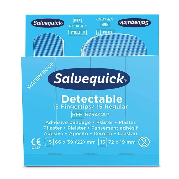 Salvequick Blue Detectable Fingertip/Normale pleisters per 6 x 30 pleisters