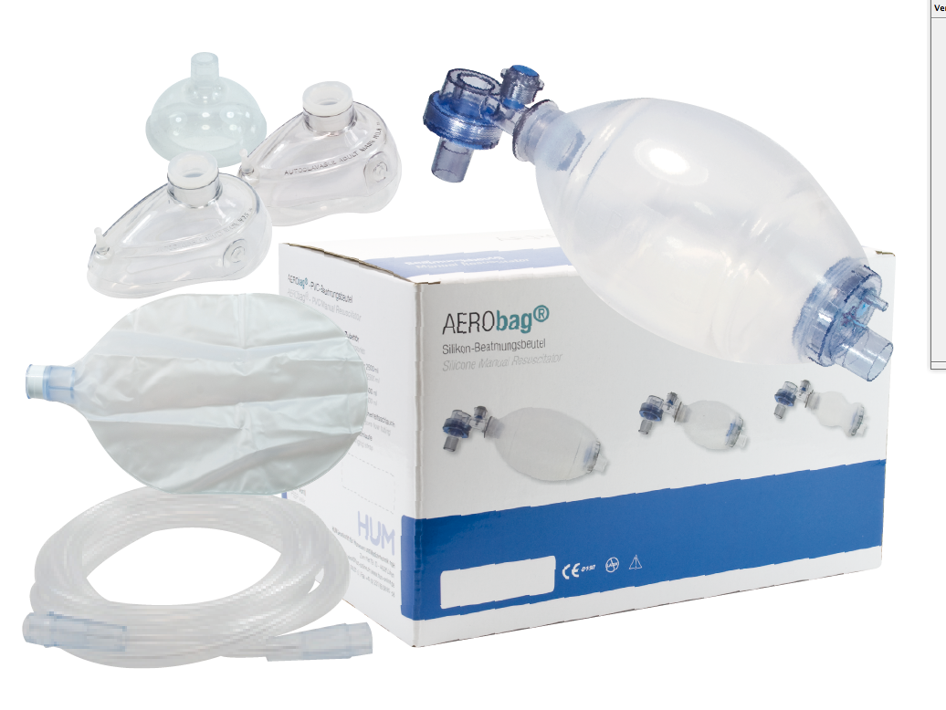 Beademingsballon volwassene met 3 maskers, reservoir en zuurstofslang