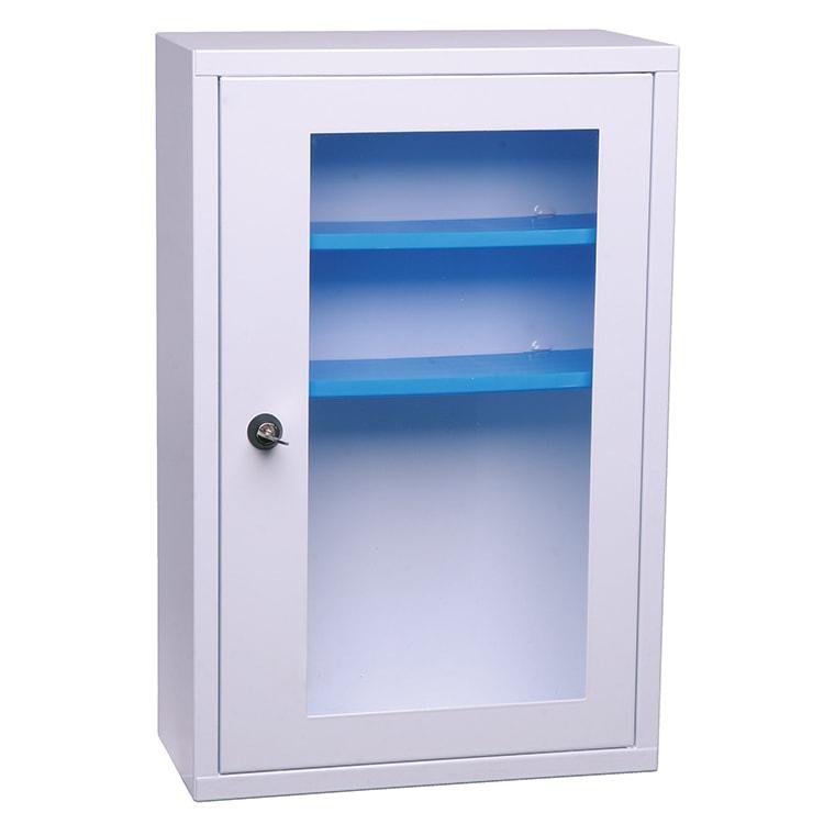 Apotheekkast metaal met doorschijnende deur
