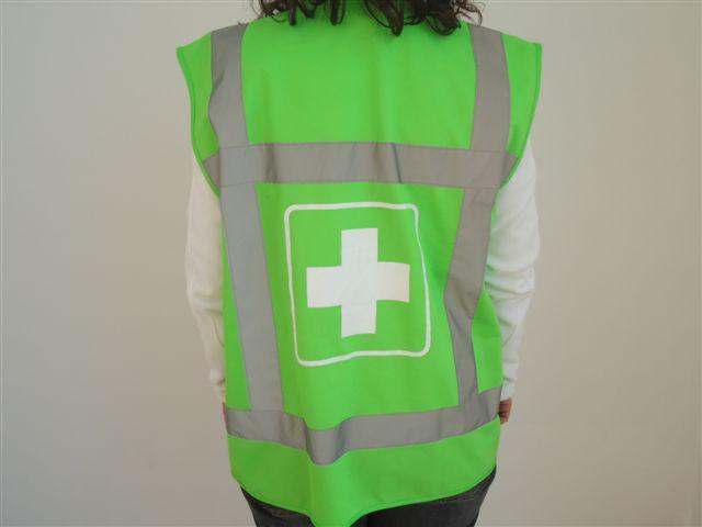 Fluo vest groen met wit kruis 'EHBO'