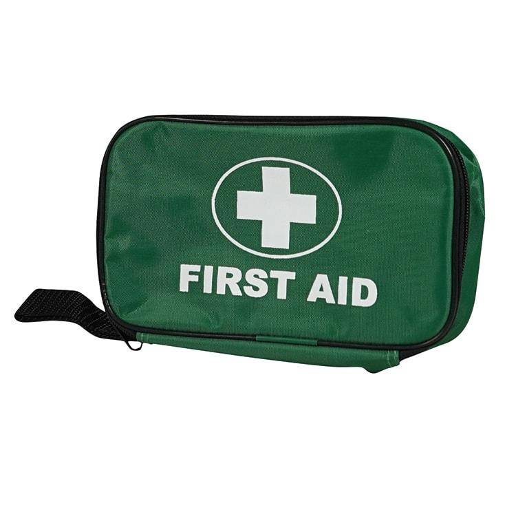Eerste hulp tasje groen met wit kruis 19 x 11 x 6,5 cm